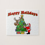 Buenas fiestas navidad que adorna puzzle con fotos