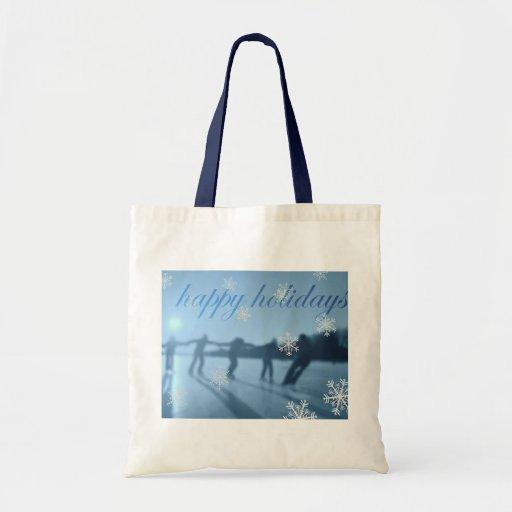 Buenas fiestas nieve de la estación del invierno bolsas de mano