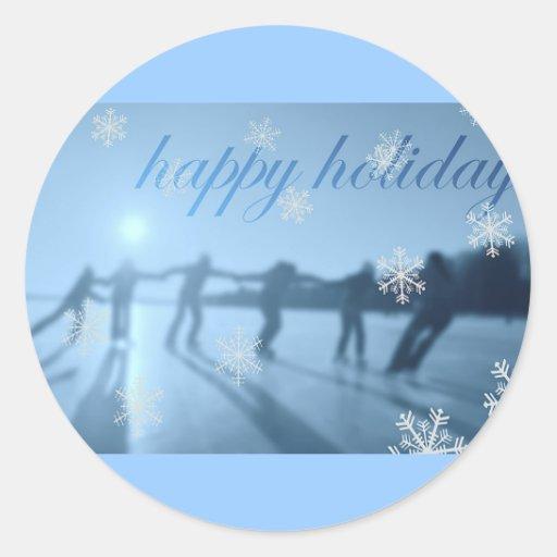 Buenas fiestas nieve de la estación del invierno pegatina redonda