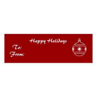 Buenas fiestas, ornamento en fondo rojo tarjetas de visita mini