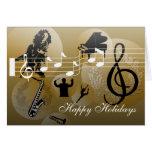 Buenas fiestas oro de la música del amor de la tar felicitación
