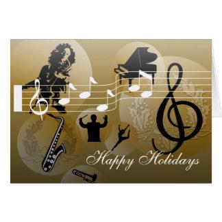 Buenas fiestas oro de la música del amor de la tarjeta pequeña
