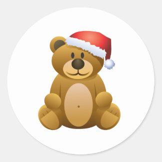 Buenas fiestas oso de peluche etiqueta redonda