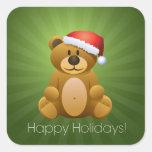 Buenas fiestas oso de peluche pegatina cuadradas personalizadas