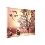 Buenas fiestas paisaje hermoso del invierno impresión en lona