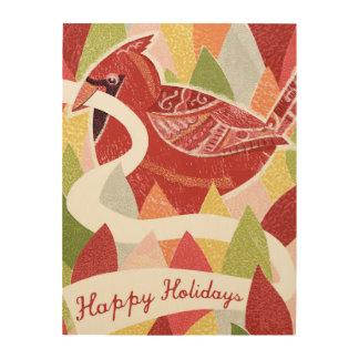 Buenas fiestas pájaro cardinal en las hojas del impresiones en madera