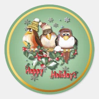 Buenas fiestas Pájaro-Pegatinas de Chirstmas Pegatina Redonda