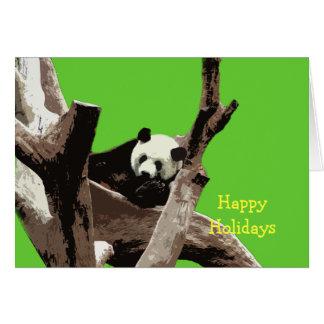 Buenas fiestas panda gigante tarjeta de felicitación