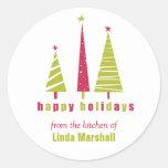 Buenas fiestas pegatina de los árboles de navidad