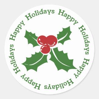Buenas fiestas pegatinas del navidad de la baya pegatina redonda