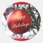 Buenas fiestas pegatinas del ornamento del navidad pegatina redonda