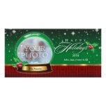 Buenas fiestas personalizable del globo de la niev tarjeta con foto personalizada