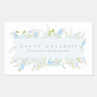 Buenas fiestas personalizado floral azul claro con pegatina rectangular
