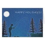 ¡Buenas fiestas! Pescador de la mosca en nieve Felicitaciones