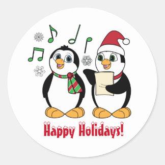 Buenas fiestas: Pingüinos de Caroling en la nieve Pegatina Redonda