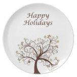Buenas fiestas placa del árbol del otoño platos para fiestas