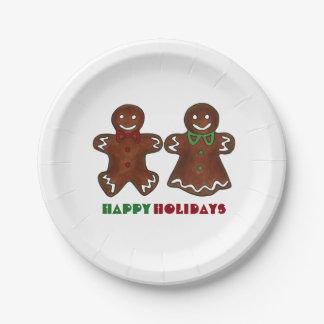 Buenas fiestas placas del navidad de la galleta plato de papel de 7 pulgadas