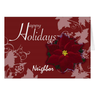 Buenas fiestas Poinsettia vecino del navidad de la Tarjeta De Felicitación