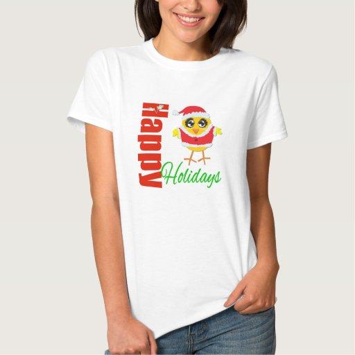 Buenas fiestas polluelo de Santa Tshirts