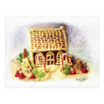 Buenas fiestas postal de la casa de pan de jengibr