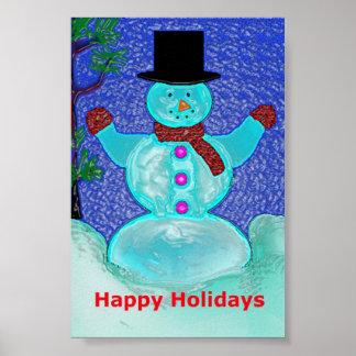Buenas fiestas poster del muñeco de nieve