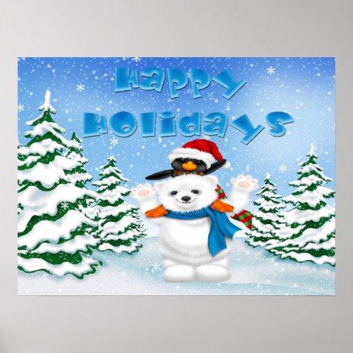 Buenas fiestas poster/impresión del pingüino del o