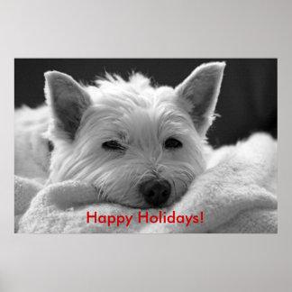 Buenas fiestas - poster lindo del perro de Westie