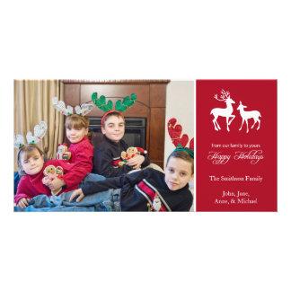 Buenas fiestas reno del navidad Borgoña Tarjeta Personal