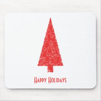 Buenas fiestas saludando. Árbol de navidad rojo Alfombrillas De Ratón