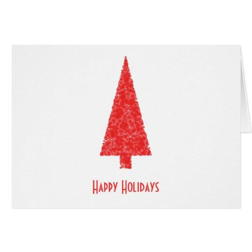 Buenas fiestas saludando. Árbol de navidad rojo Tarjetón