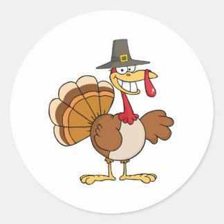 Buenas fiestas saludando con Turquía Pegatina Redonda