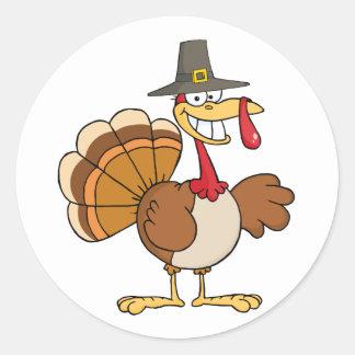 Buenas fiestas saludando con Turquía Pegatinas Redondas