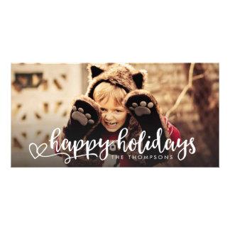 Buenas fiestas saludo blanco de la capa de la foto tarjetas fotograficas personalizadas