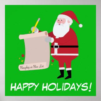 Buenas fiestas Santa que comprueba la lista Póster