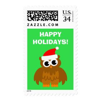 Buenas fiestas sellos del búho de Papá Noel del