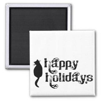 Buenas fiestas silueta del gato imán cuadrado