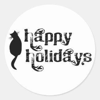 Buenas fiestas silueta del gato pegatina redonda