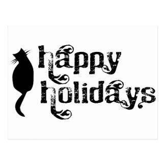 Buenas fiestas silueta del gato postales