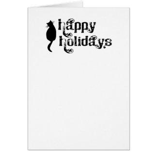 Buenas fiestas silueta del gato tarjeta de felicitación