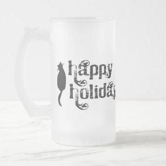 Buenas fiestas silueta del gato taza de cristal