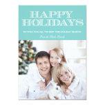 Buenas fiestas tarjeta azul de la foto de Chevron Invitaciones Personales