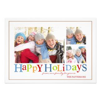 Buenas fiestas tarjeta colorida de la foto de tres comunicados personales