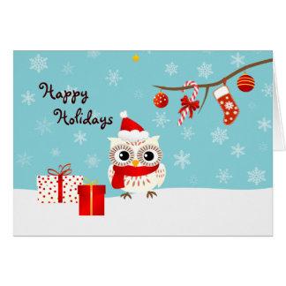 Buenas fiestas tarjeta de felicitación del búho de
