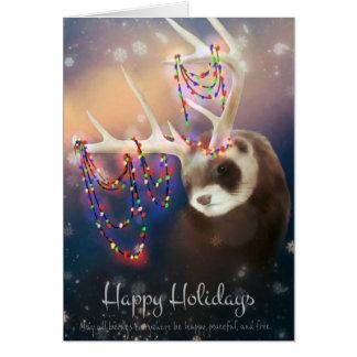 Buenas fiestas tarjeta de felicitación del hurón
