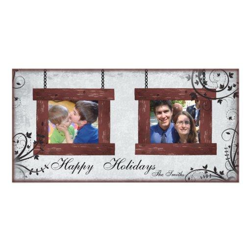 Buenas fiestas tarjeta de la foto de la familia 2  tarjetas con fotos personalizadas