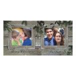 Buenas fiestas tarjeta de la foto de la familia 2 tarjetas fotográficas