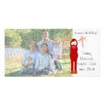 Buenas fiestas tarjeta de la foto del bastón del r plantilla para tarjeta de foto