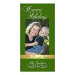 Buenas fiestas tarjeta de la foto del verde del ac tarjeta con foto personalizada