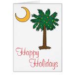 Buenas fiestas tarjeta de la luna del Palmetto