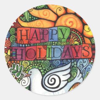 Buenas fiestas tarjeta de la paloma de la paz etiqueta redonda